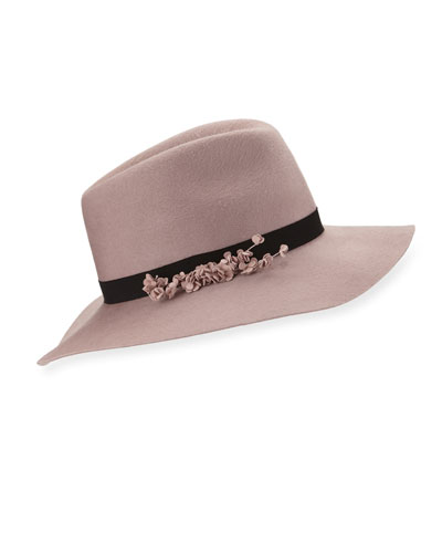 Georgina Felt Fedora Hat, Rose