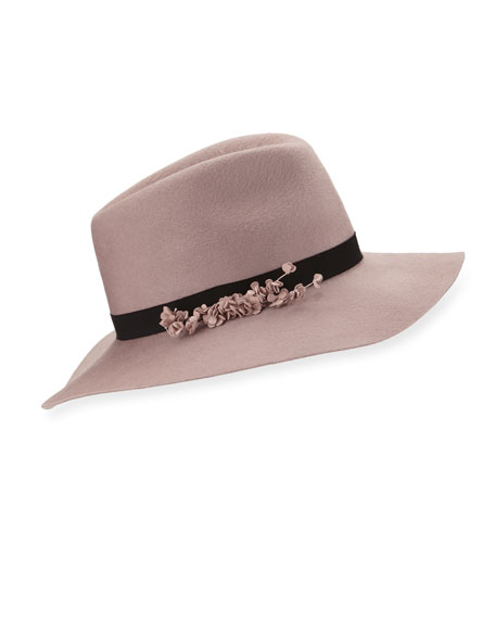 Eugenia Kim Georgina Felt Fedora Hat, Rose