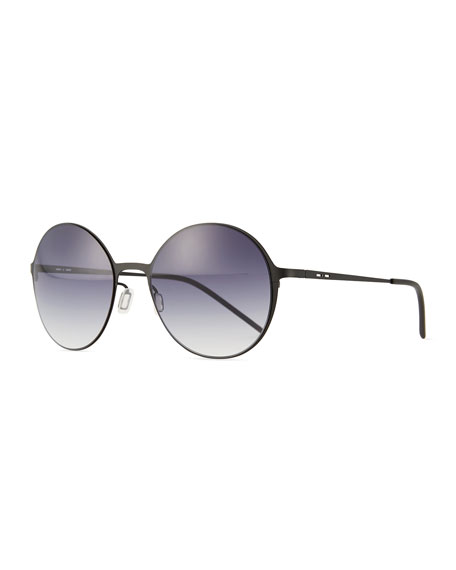 Italia IndependentI-Metal Thin Round Gradient Sunglasses, Black