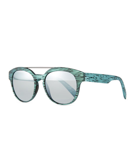 Italia Independent I-Plastik Brushed Brow-Bar Sunglasses, Green