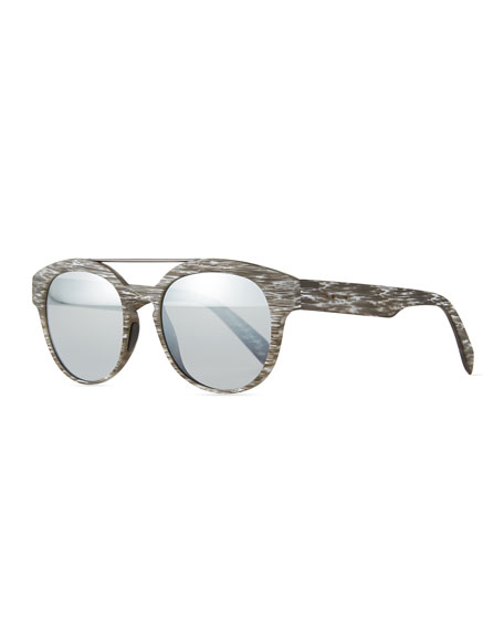Italia Independent I-Plastik Brushed Brow-Bar Sunglasses, Gray