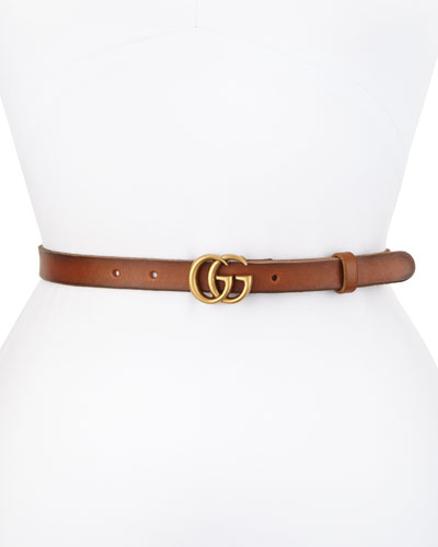 Thin GG Leather Belt, Black