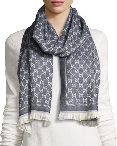 Reversible Wool Stencil Scarf, Sand/Blue