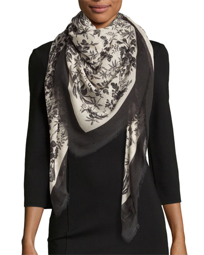 Erbary Floral Voile Shawl, Black/Ivory