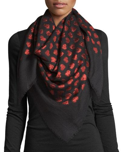 Alur Metallic Heart Woven Shawl, Black/Red