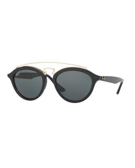 Ray-Ban Monochromatic Brow-Bar Sunglasses, Black/Dark Green