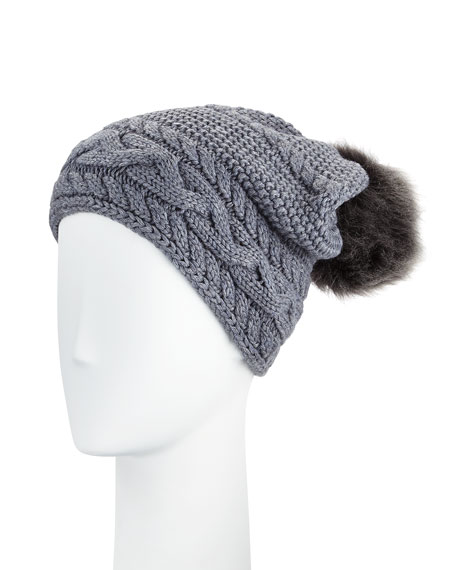 Cable-Knit Beanie w/ Pompom, Steel