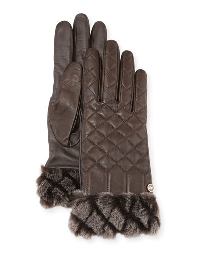 Croft Quilted Leather Smart Gloves, Brown