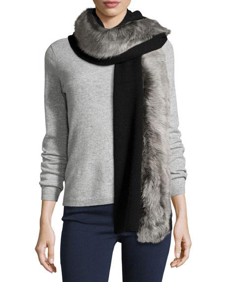 UGGLuxe Wool-Blend Scarf w/ Toscana Fur Trim, Black