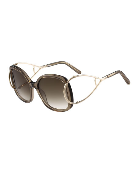 ChloeJackson Square Oversized Sunglasses, Gray