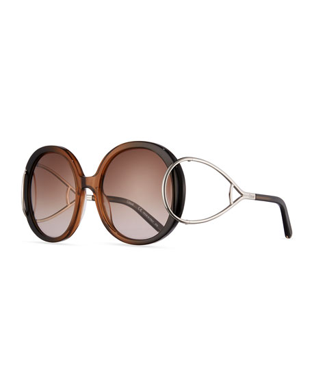 Chloe Jackson Round Oversized Sunglasses, Rose
