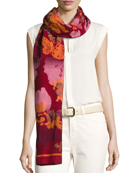 Etro Wool-Blend Floral Jacquard Scarf
