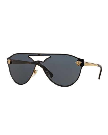 Versace Monochromatic Shield Brow-Bar Sunglasses, Gold/Gray