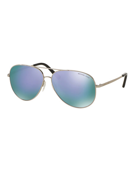 Michael Kors Mirrored Aviator Sunglasses, Silver/Purple