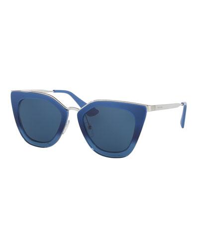 Monochromatic Metal-Trim Geometric Cat-Eye Sunglasses, Blue