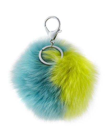 Adrienne Landau Two-Tone Fox Fur Pompom/Charm for Handbag,