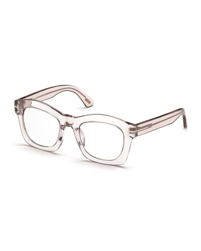 Greta Square Optical Frames, Transparent Pink