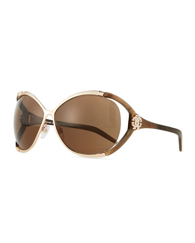 Round Sunglasses, Medium Gold
