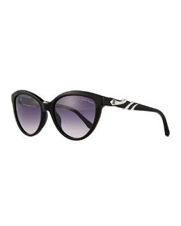 Rhinestone Snake-Wrapped Sunglasses, Black