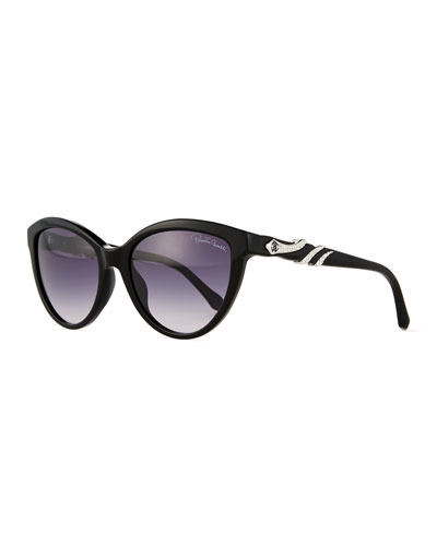 Rhinestone Snake-Wrapped Sunglasses, Black