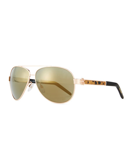 Roberto Cavalli Leopard-Inset Aviator Sunglasses, Brown/Red