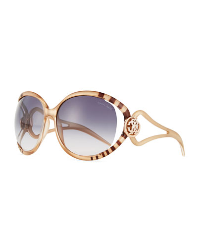 Open-Arm Oversize Sunglasses, Gold/Smoke