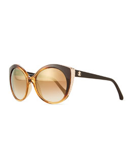 Crystal-Embellished Cat-Eye Sunglasses, Dark Brown