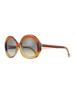 Round Acetate Sunglasses, Brown