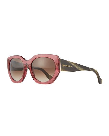 Balenciaga Square Two-Tone Acetate Sunglasses, Green/Red
