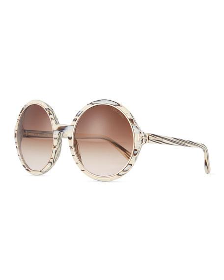 TOM FORD Round Gradient Woodgrain Sunglasses, Brown/Ivory