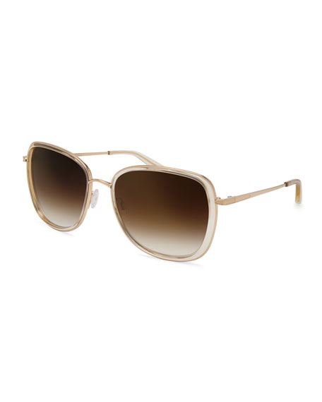 Barton Perreira Tiegs Gradient Square Sunglasses, Champagne/Gold