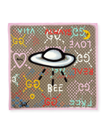 Silk Square UFO Scarf, Pink/Multicolor