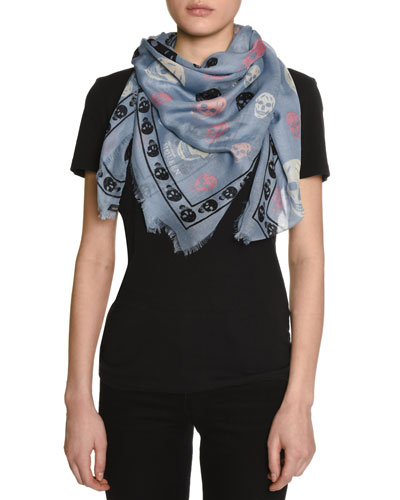 Voile Mixed-Skull Scarf, Blue/Black