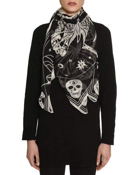 alexander mcqueen zodiac skull silk scarf black ivory. Black Bedroom Furniture Sets. Home Design Ideas
