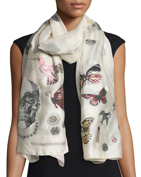 Alexander McQueen Silk-Blend Mixed-Graphic Scarf, Ivory