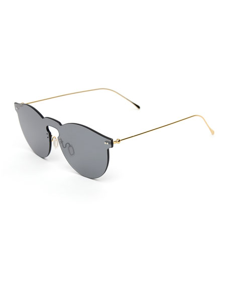 Illesteva Rimless Mirrored Sunglasses, Gray