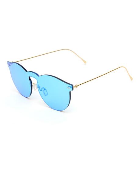 Rimless Mirrored Iridescent Sunglasses, Light Blue
