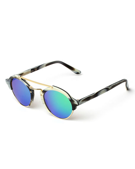 Illesteva Milan Mirrored Iridescent Sunglasses, Horn/Green