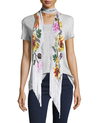 Floral Classic Skinny Fringe Silk Scarf, Ivory