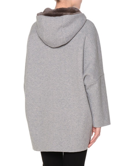 Mink-Lined Hooded Cashmere Coat, Anthracite Gray