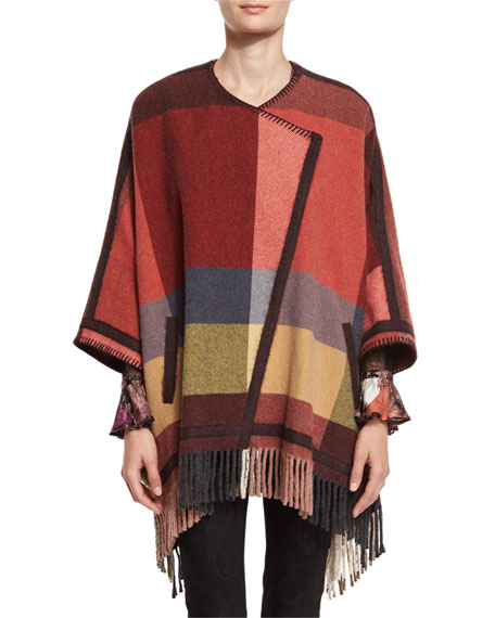 Etro Plaid Fringe Wool-Blend Poncho, Salmon