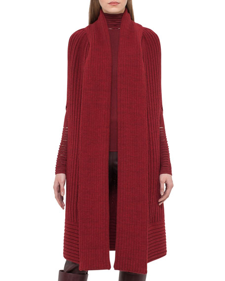 Akris Ribbed Cashmere Knit Cape, Miracle Berry