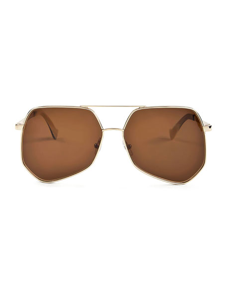 Megalast II Monochromatic Aviator Sunglasses, Gold