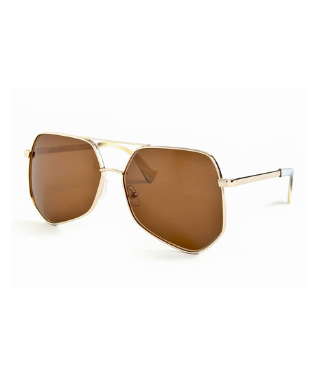 Grey Ant Megalast II Monochromatic Aviator Sunglasses, Gold