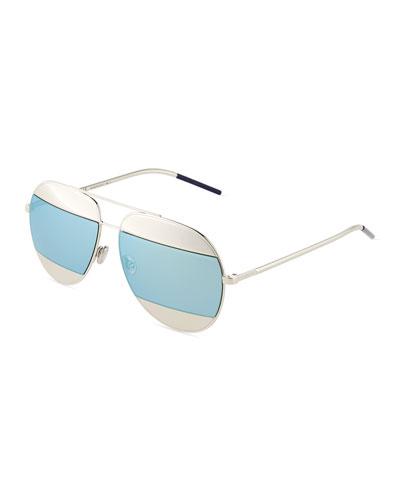 DiorSplit Two-Tone Metallic Aviator Sunglasses, Light Blue/Silver