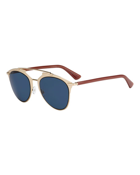 Dior Reflected Monochromatic Metal Brow-Bar Sunglasses, Rose Gold Brick 5a7b1ed8f366