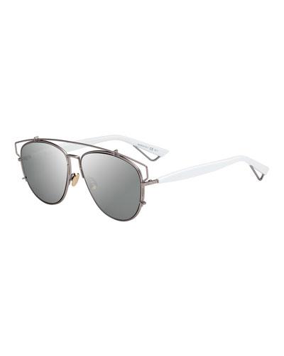 Technologic Mirrored Metal Sunglasses, Matte Pink/White
