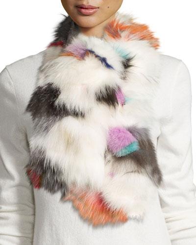 Fox Fur Scarf, White/Multicolor