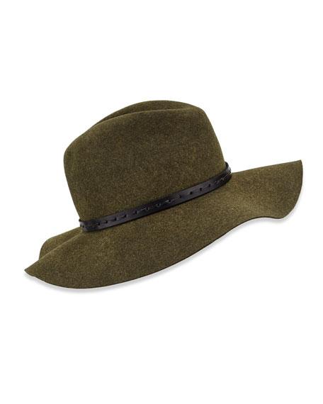 Wool Felt Wide-Brim Fedora Hat, Green Multi