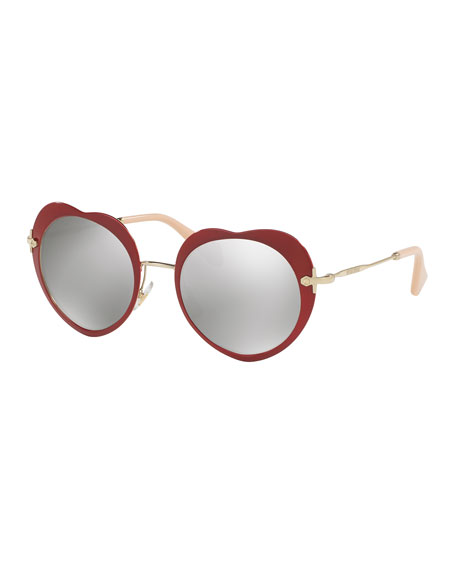 Miu Miu Mirrored Heart Sunglasses, Red